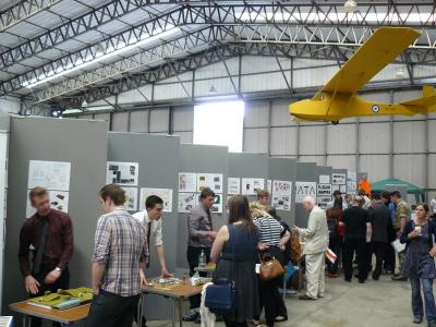 Judging taking place at the competition in the T2 hangar at Elvington